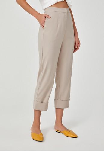 Love, Bonito beige Karleen Tailored Cuff Pants B455FAAC6F94C3GS_1