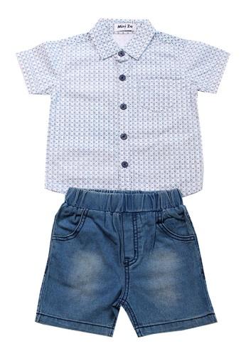 Mini Zo blue Pica Kid's Shirt Set Blue 43E40KA0C4CB7EGS_1