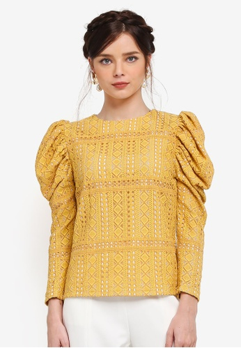 Zalia yellow Gigot Sleeve Top B811FAAC9820D4GS_1