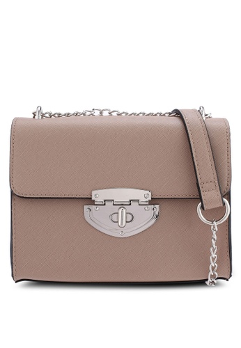 Dorothy Perkins brown Taupe Lock Chain Crossbody Bag 2D3E7AC52BFEABGS_1