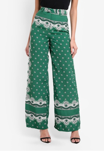 MISSGUIDED green Floral Print Wide Leg Trousers A6992AAB7611FEGS_1
