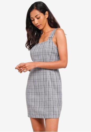 ZALORA BASICS grey and multi Basic Pinafore Dress 107B7AABF29066GS_1