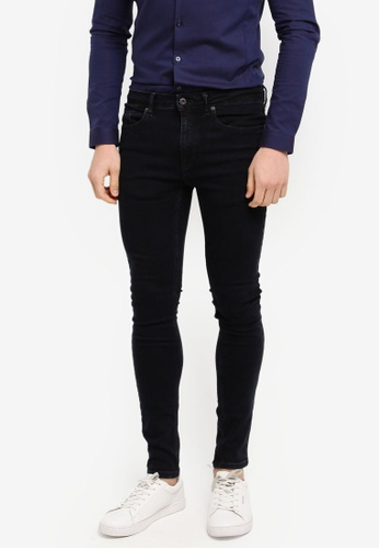 Topman black Washed Black Spray On Jeans A569FAA07E96FFGS_1