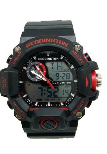 Reddington Jam Tangan Pria Hitam Merah Rubber Strap R2808