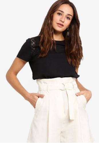 ZALORA black Lace Panel Short Sleeves Blouse 7D46DAA4DB8837GS_1
