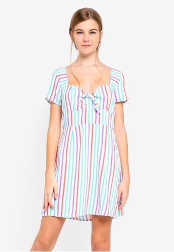 Factorie multi Woven Tie Front Short Sleeve Dress 1E52DAA77AC2BEGS_1