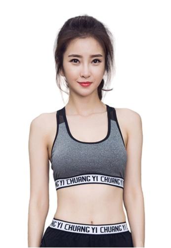 B-Code grey ZYG3014-Lady Quick Drying Running Fitness Yoga Sports Bra -Grey BA290US5653395GS_1