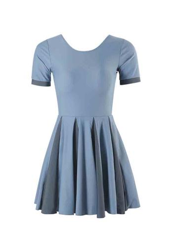 ZITIQUE blue College Students' Comfortable Short Sleeve One-piece Swimsuit - Blue 00E77US946599FGS_1
