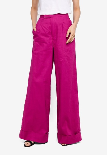 AfiqM pink Wide Leg Tailored Pants 48B69AAB3D90B2GS_1