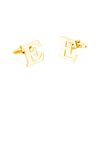 Glamorousky silver Simple Personality Plated Gold English Alphabet E Cufflinks 5DC21ACE39A056GS_1