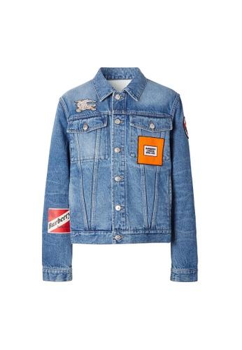 Burberry blue Burberry Logo Graphic Appliqué Denim Jacket in Light Indigo Blue E3CBCAA5FF166FGS_1