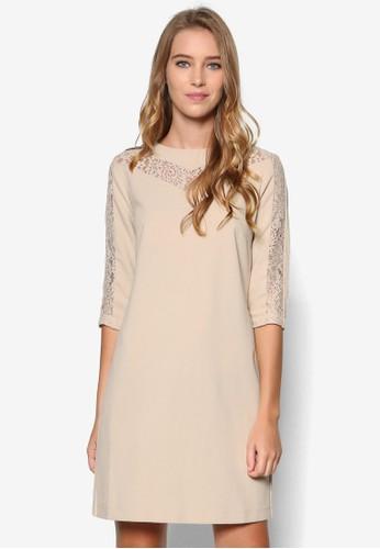 Collesprit女裝ection 蕾絲拼接七分袖連身裙, 服飾, 洋裝