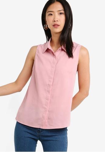 ZALORA BASICS pink Basic Sleeveless Shirt 031B2AA50A7408GS_1