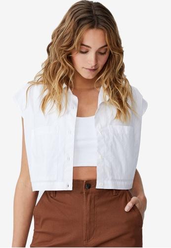 Cotton On white Petite Sunset Cropped Shirt 66C26AA45B9743GS_1