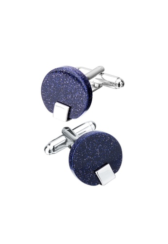 Kings Collection blue Round Blue Sandstone Cufflinks (KC10040a) F63C3ACE2E7AF6GS_1