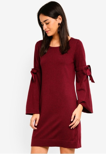 Max Studio red Crew Neck Bell Sleeve Dress 4A0BFAAA20ED1EGS_1