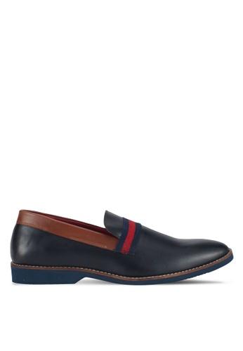 Acuto blue and navy Stripe Slip-On Shoes AC283SH0SL7SMY_1