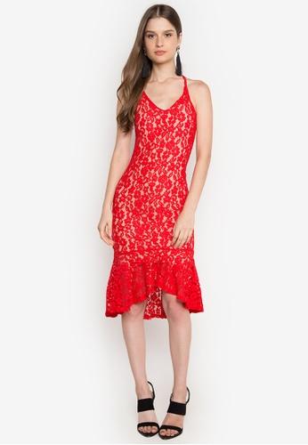 Ashley Collection red Alyssa Lace Ruffle Hem Dress AS637AA0JTM5PH_1