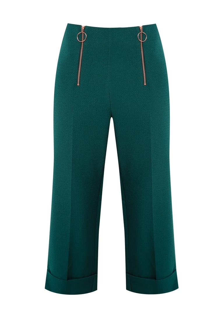 Double Zip Trousers Wide TOPSHOP Green Crop zwCYxdq