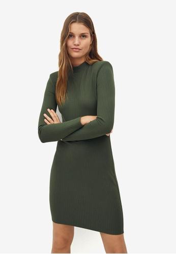 Mango green Ribbed Short Dress 1A837AA75A16C9GS_1