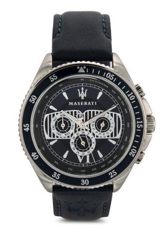 Maserati white Stile Men's Chronograph Leather Strap Watch R8851101002 MA410AC02UURMY_1