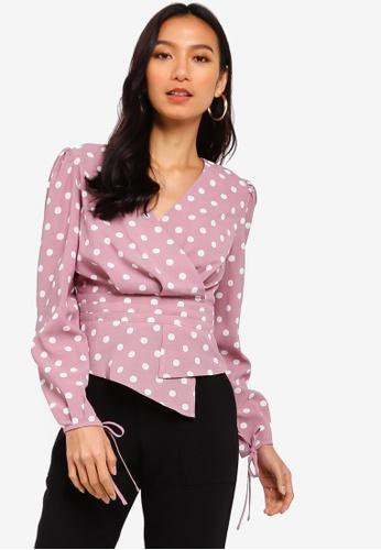 ZALORA 粉紅色 褶飾上衣 0F76DAA545471CGS_1
