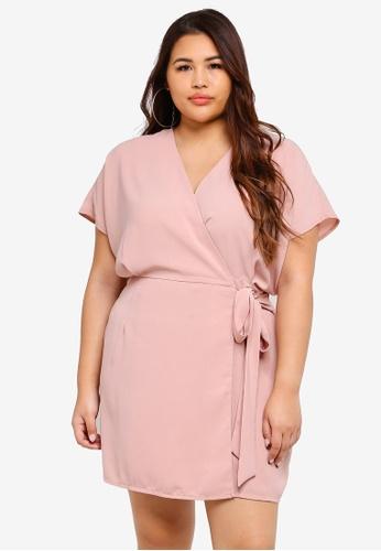 ca9f73c7ce450e MISSGUIDED pink Plus Size Kimono Sleeve Wrap Front Dress 3331FAA5D63C8FGS 1