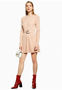 f354563ae256 TOPSHOP Petite Ribbed Belted Mini Dress S  66.90. Sizes 8 10 12