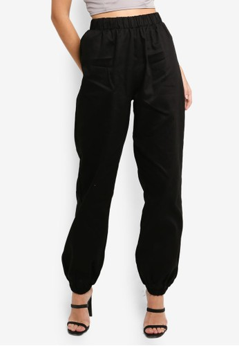 MISSGUIDED black 80S Twill Joggers A0FFFAA8317225GS_1