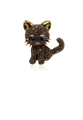 Glamorousky black Simple and Cute Plated Gold Cat Brooch with Cubic Zirconia CF8D5ACE1780D9GS_1