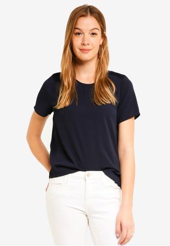 Vero Moda blue Vonderful Short Sleeve Midi Top 09653AAB390AA8GS_1
