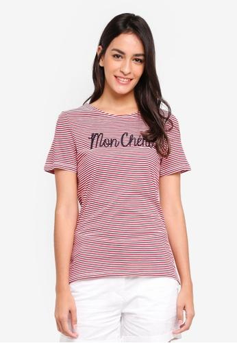 Dorothy Perkins 紅色 Red Stripe Mon Cheri Tshirt 398E3AAA87CDA9GS_1