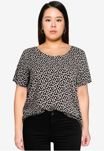 Only CARMAKOMA black Plus Size Carfirstly Life Short Sleeve Top 1F898AAB25F0BDGS_1