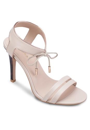 繫帶繞踝高跟涼鞋,zalora 泳衣 女鞋, 鞋