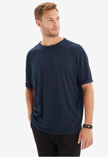 Trendyol navy Oversized Short Sleeves T-Shirt CB884AA72746A7GS_1