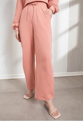 Origin by Zalora pink Organic Cotton Straight Jogger Pants 3384DAA6E04BA1GS_1