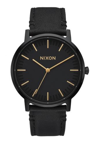 Nixon black and gold Nixon Porter Leather - All Black / Gold NI855AC93OGGSG_1