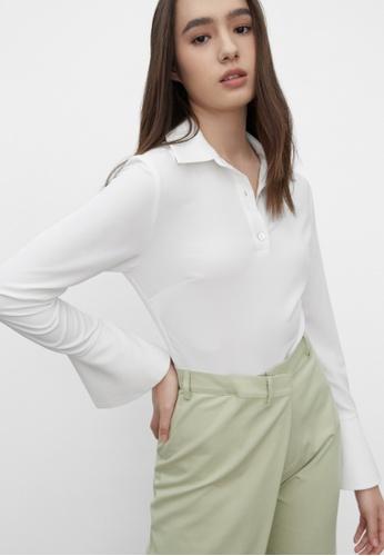 Pomelo white Polo Button Up Bodysuit - White 9E117AAFF99AE3GS_1