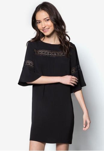 Love 蕾絲zalora 順豐拼接五分寬袖連身裙, 服飾, 洋裝