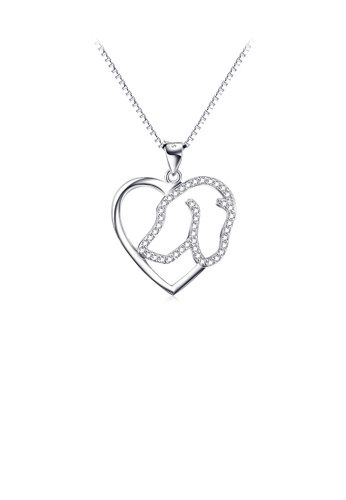 Glamorousky white 925 Sterling Silver Simple Cute Dog Heart Pendant with Cubic Zirconia and Necklace 18C5AACFC9DE49GS_1