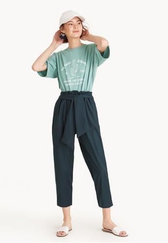 Pomelo green Cropped Frill Waist Front Tie Pants - Dark Green 6C990AA65D7175GS_1
