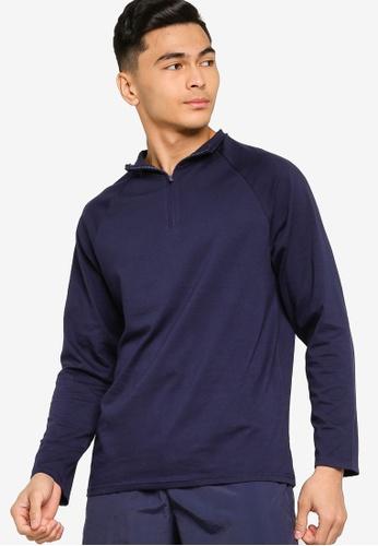 ZALORA ACTIVE navy Active Zip Neck Long Sleeves T-shirt 511E0AA0B1F90EGS_1