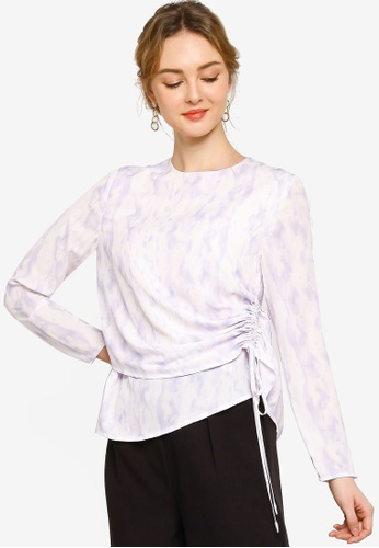 Lubna purple Gathered Details Blouse D1199AAC64E1C4GS_1