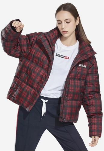 FILA red Korea Collection FILA Logo Checked Down Jacket 45957AA8CE8FD5GS_1