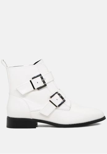 London Rag 白色 系带宽头双排扣短靴 5033CSH3CC9D92GS_1