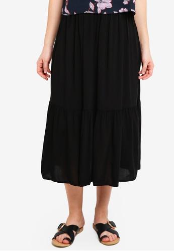 Cotton On black Woven Cherry Midi Skirt 493FCAAD41DADAGS_1