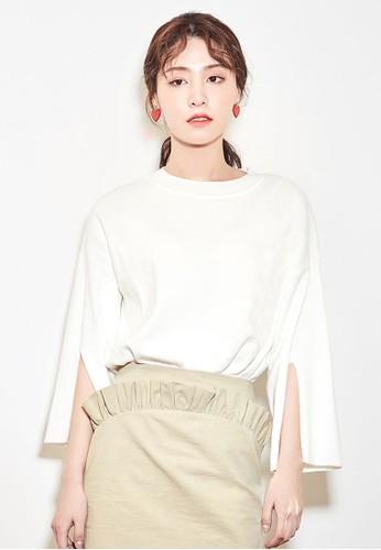 NAIN white Casual Slit Sleeves Top 31476AA1FFAC1EGS_1
