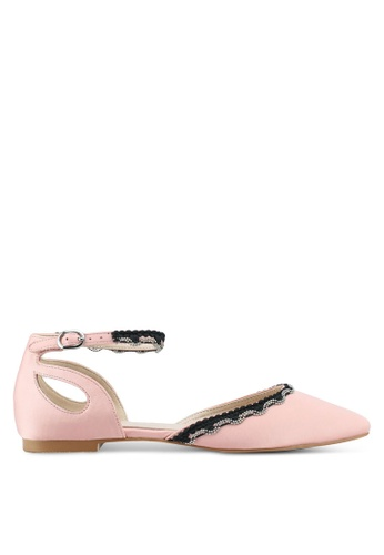 Velvet pink Ankle Strap Cut Out Ballerina Flats 20D32SH014CB15GS_1