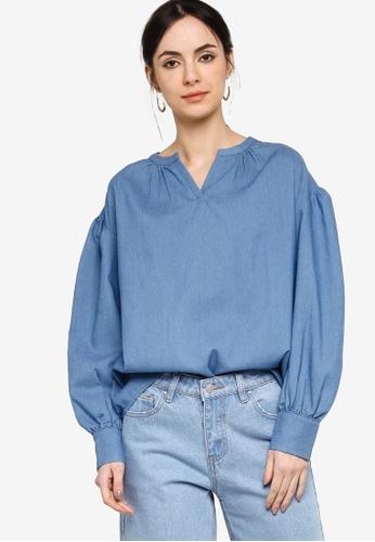 ZALIA BASICS blue Chambray Puff Sleeve Blouse 72AD3AAFD8CC61GS_1