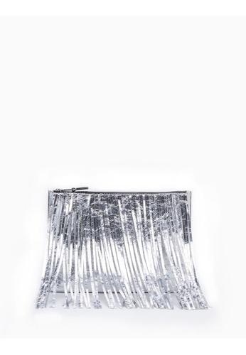 Calvin Klein silver Medium Fringe Pouch E8E2FACEC7B383GS_1